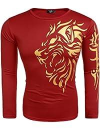 Modfine Men's Fall Hipster Long Sleeve Print Golden Lion Casual T-Shirt