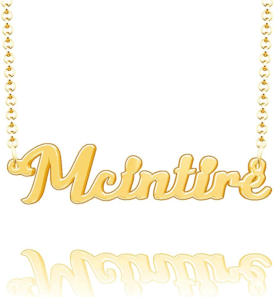LoEnMe Jewelry McIntire Name Necklace Stainless Steel Plated Custom Made of Last Name Personalized Gift for Family