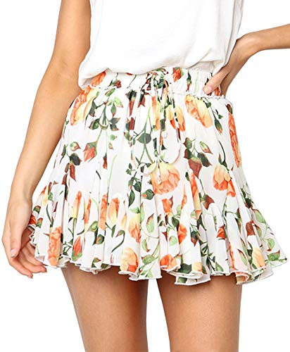 Hibluco Women' Floral Layered Ruffles Tie up High Waist Short Pleated Skirt White