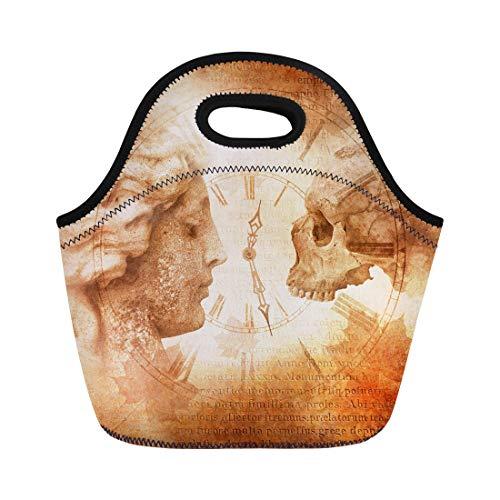 Semtomn Neoprene Lunch Tote Bag Memento Mori Montage Female Profile Facing Skull Across Antique Reusable Cooler Bags Insulated Thermal Picnic Handbag for Travel,School,Outdoors,Work