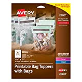 "Avery Printable Bag Toppers for Laser & Inkjet Printers, Bags Included, 1.75"" x 5"", Pack of 40 (22801), White"