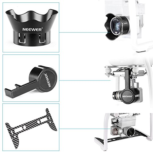 Neewer Carbon Fiber Camera Gimbal Guard + Protective Camera Lens Cap + Lens Protector Cover for DJI Phantom 3 Professional, Advanced, Standard