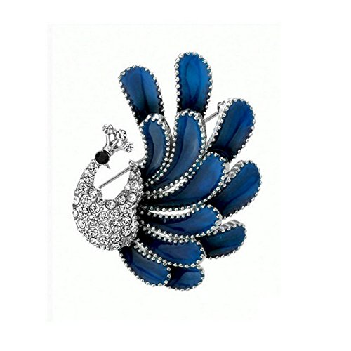 Yoursfs Peacock Brooch Peacock Spread Blue Wing Edging Pearls Women Crystal Rhinestone Pin