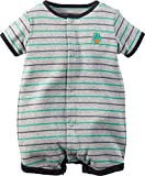 Carter's Baby Boys' Snap-Up Cotton Romper (6 Months, Grey/Monster)