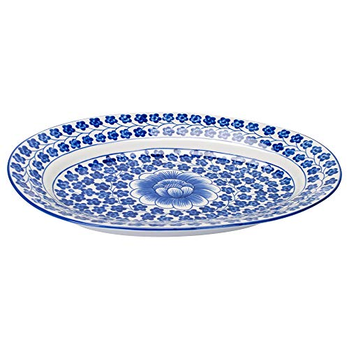 Sea Island Imports Elegant Porcelain Serving Platter with Blue and White Hand Painted Coriander Pattern