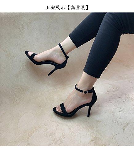 Avec heel Satin Eu36 Sangle Fines Sort De Dew slotted Shoes Femmes Couleur Sandales High Shoeshaoge qt81UOww