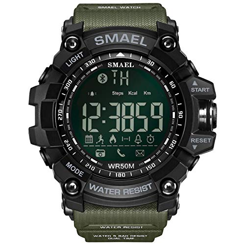 Men's Digital Sports Watch 50M Waterproof Tactical Watch with LED Military Multifunction Backlight Watch for Men (Army Green)