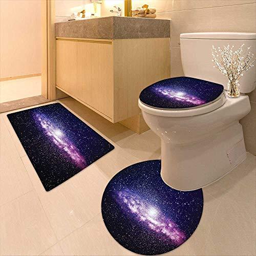 Printsonne 3 Piece Toilet mat Set Nebula Cloud in Milky Way Infinity in Interstellar Solar Explosion Design Purple Dark 3 Piece Shower Mat Set by Printsonne