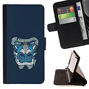 DEVIL CASE - FOR Samsung Galaxy Note 3 III - Gorilla Ape Animal Blue Art Painting - Style PU Leather Case Wallet Flip Stand Flap Closure Cover