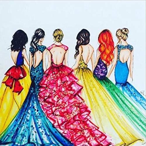 5Dダイヤモンドは刺しゅうクロスステッチラインストーンモザイク現代ウォールアート装飾ハンドがカラフルなドレスを描いた絵画 (Co