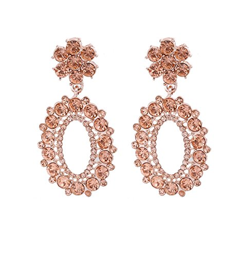 (NVENF Crystal Drop Earrings Statement Oval Shape Flower Chanderlier Dangle Earrings(Rose Gold))