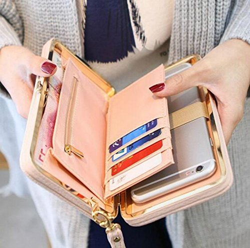 WPCHENG Women Bowknot Wallet Long Purse Phone Card Holder Clutch Large Capacity Pocket HANDBAG STYLE [18.5-10.5-2.8cm] Cherry blossom pink