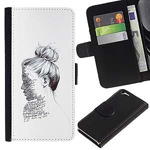 A-type (Ink Portrait Reading Writer White Deep) Colorida Impresión Funda Cuero Monedero Caja Bolsa Cubierta Caja Piel Card Slots Para Apple Apple (4.7 inches!!!) iPhone 6 / 6S