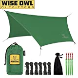 Cool things about our WiseFly: *BIGGER than the ENO Profly for more coverage *PERFECT shelter from rain, sun or wind *BACKPACKING tent cover *GREAT shade tarp at the park or cover for your hammock     INCLUDED: : 1 X WiseFly Rain tarp 1 X Carry ba...
