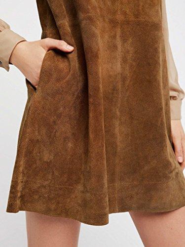 Pockets Line V A L Neck Brown R Women's Vivimos Suede Sleeveless Dresses AFqURqw