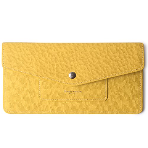 Women's Wallet Leather RFID Ultra-thin Envelope Ladies Purse Travel Clutch (Crosshatch Yellow) by Borgasets (Image #7)