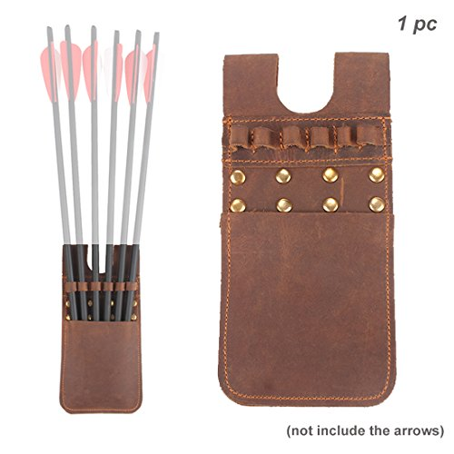Krayney Archery Leather Crossbow Bolts Arrow Quiver Hip Shooting Waist Belt Pouch Pocket 6 Arrows, 12 Arrows Holder (Brown (6 (Bolts Leather Belt)