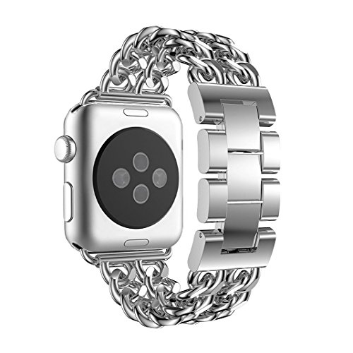 Amazon.com: for Apple Watch Band 38mm Silver, Aottom iWatch Band 38mm Cowboy Chain Stainless Steel Smart Watch Replacement Band Metal Buckle Clasp Bracelet ...