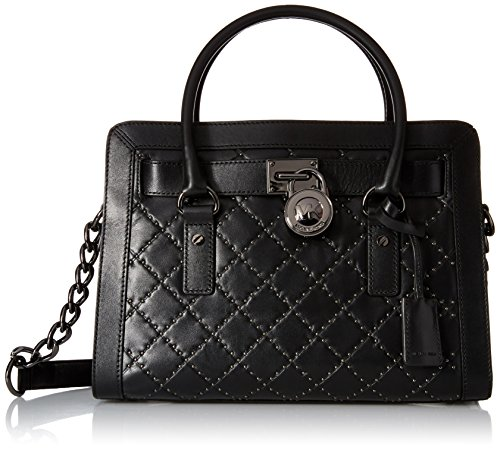 Michael Kors Hamilton Women's Medium Leather Studded Quilted Satchel Handbag
