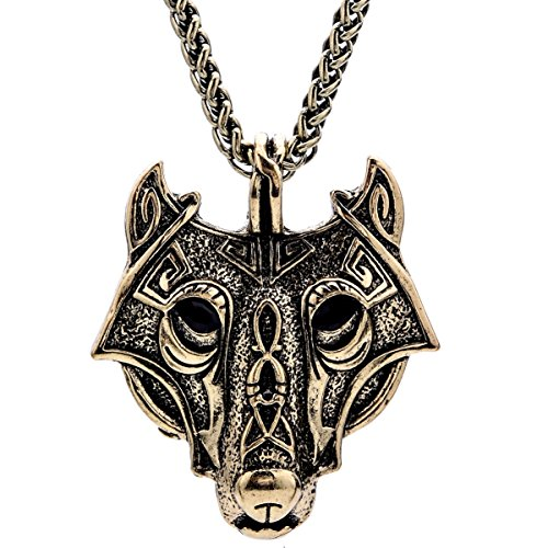 Woogge 3 Colors Viking Wolf Head Pendant Necklace By Alchemy Gothic (brass ox)