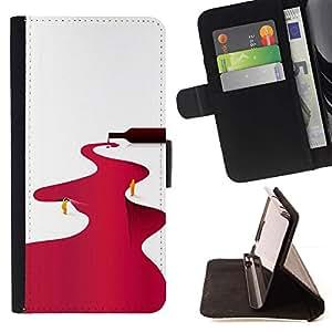 Momo Phone Case / Flip Funda de Cuero Case Cover - Río Vino Tinto Minimalista Blanca - HTC One A9