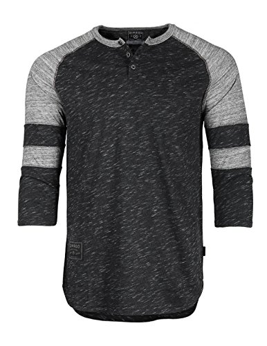 3/4 Sleeve Henley Tee - ZIMEGO Mens 3/4 Sleeve Baseball Football College Raglan Henley Athletic T-Shirt,X-Large,Black Grey