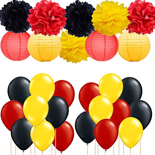 Mickey Mouse Party Decorations Yellow Black Red Tissue Paper Pom Poms Paper Lanterns with Party Balloons for Nursery Decor/Baby Shower/Gender Reveal/Birthday Mickey Party Minnie Mouse Party Supplies]()