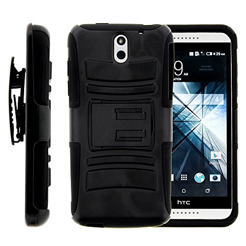 HTC Desire 610 Case, HTC Desire 610 Holster, Two Layer Hybrid Armor Hard Cover  - Black