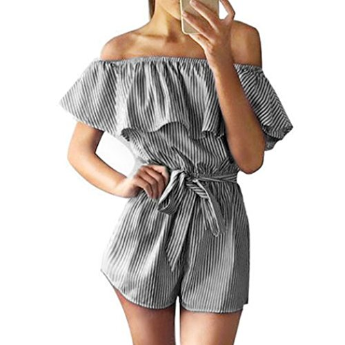 Price comparison product image Women's Summer Striped off Shoulder Ruffle Short Sleeve Tie Waist Romper Jumpsuit (Medium,  Black)