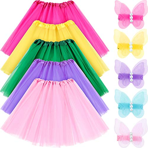 Leinuosen 5 Set Girls Ballet Tutu Skirt Thickened 3 Layers Ballet Dressing Up Kid Tutu Skirt with Butterfly Hair Clips ()