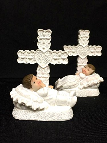 10 Baby Boy in Bed with Cross Christening Favor Keepsake Gift onlinepartycenter