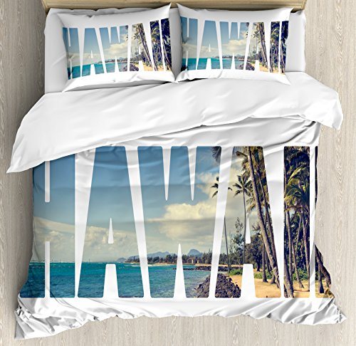 Hawaiian Kids Bedding (Hawaiian Duvet Cover Set King Size by Ambesonne, Word Hawaii with Tropical Island Photo Exotic Popular Places Palm Forest by Ocean, Decorative 3 Piece Bedding Set with 2 Pillow Shams, Blue Green)