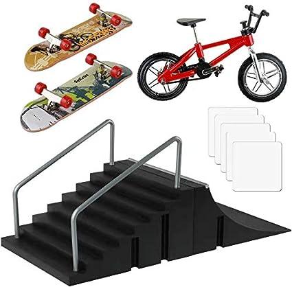 Finger Board Skate Park Kit for Ramp Parts Finger Skateboard Ultimate Parks Training Props with 5 Decks 2 Fingerboards
