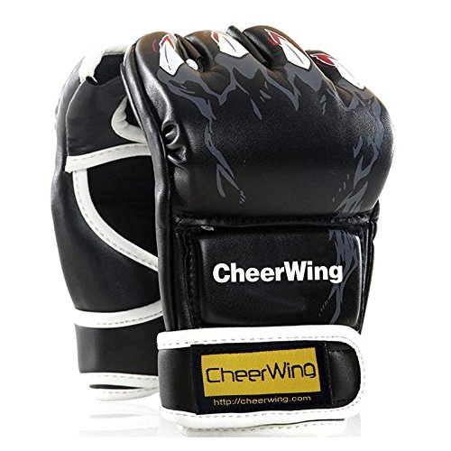 (Cheerwing Half Finger Boxing Gloves MMA UFC Sparring Grappling Fight Punch Ultimate Mitts Leather Kickboxing Gloves)