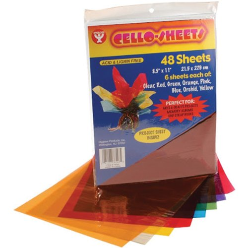 Hygloss 78548 Cello Sheets, 8.5 by 11-Inch, - Acetate Colored