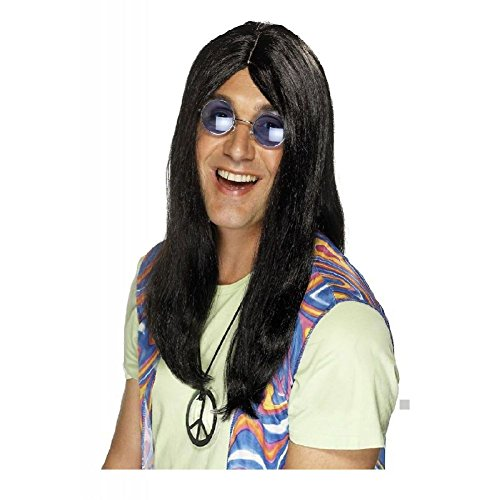 Hippy Wig Adult Mens 60s-70s-80s Rockstar Halloween Costume Fancy Dress