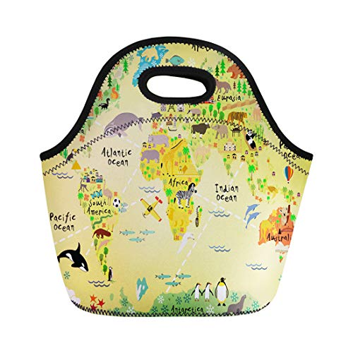 Semtomn Neoprene Lunch Tote Bag Animal Cartoon World Map Geography Kids Canberra America Fish Reusable Cooler Bags Insulated Thermal Picnic Handbag for Travel,School,Outdoors, Work