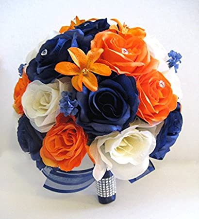 Amazon Wedding Bouquets Silk Bridal Flowers Bouquet Navy Blue