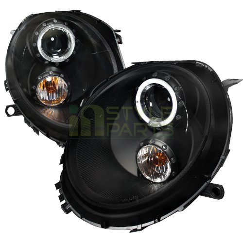 Headlights Cooper Mini Projector (Spec-D Tuning 2LHP-MINI06JM-TM Mini Cooper S/Base Black Halo Projector Headlights)
