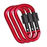 Webetop Aluminum D Shape Buckle Pack Keychain Clip Carabiner Spring Snap Hook Screw Gate Lock Hooks Spring Link Buckle for Home Camping Fishing Traveling Red, Pack of 3
