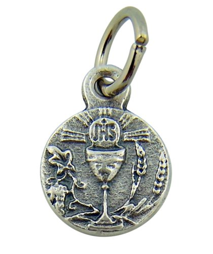 - Chalice with IHS Host 1/2 Inch Silver Tone Medal First Communion Charm Pendant