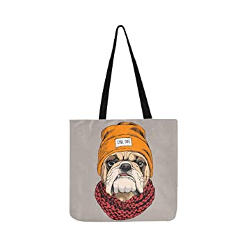 Bulldog Retrato Hipster sombrero de punto bufanda de lona ...