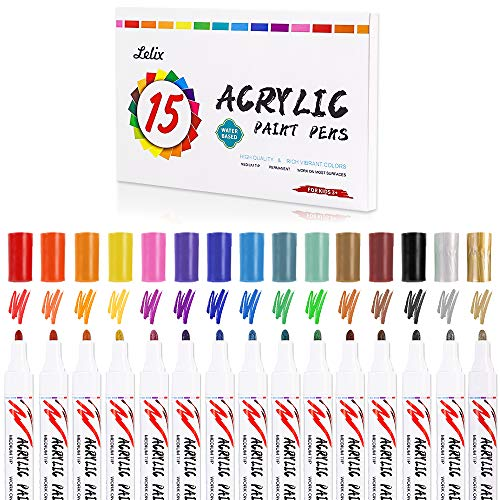 Acrylic Paint Markers, Lelix 15 Colors Acrylic Paint Pens for Rock, Glass Painting, Ceramic, Wood, Canvas, Fabric, Photo Album, DIY Craft Projects, Medium Point