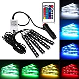 Led Car Lights Interior,Car LED Strip Light 4pcs DC 12V Multi-color Car Interior Light Glow Neon Decoration Lighting Kit with Wireless Remote Control, Car Charger Included DC 12V Waterproof
