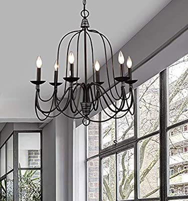 CLAXY Ecopower Lighting Industrial Vintage 6-lights Candle Chandeliers