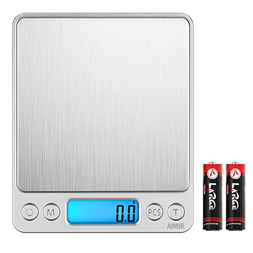 AMIR Digital Kitchen Scale, 3000g 0.01oz/0.1g Pocket Cooking Scale, Mini Food Scale, Pro Electronic Jewelry Scale with Back-Lit LCD Display, Tare & PCS Functions, Stainless Steel, Batteries (0.1g Digital Pocket Scales)