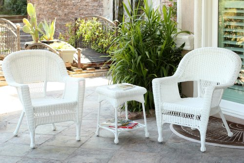 Jeco W00206_2-CES 3 Piece Wicker Chair and End Table Set Without Cushion, White