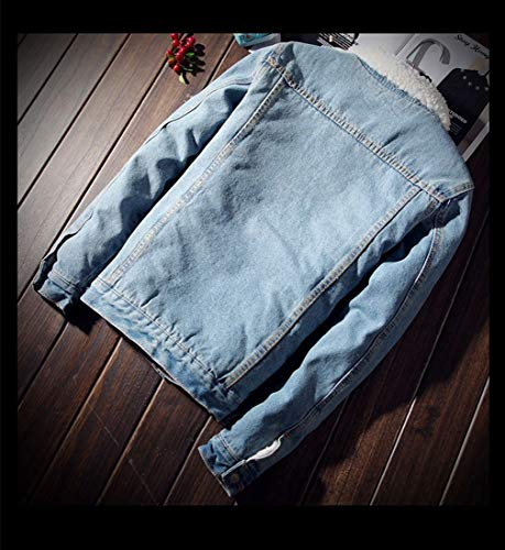 Trendy Warm Velvet Denim zhbotaolang Thick Cowboy Light Casual Plus Coats Blue Men Jacket 4BwEE5