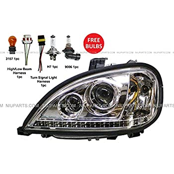 headlight with led strip at bottom - driver side (fit: freightliner  columbia)