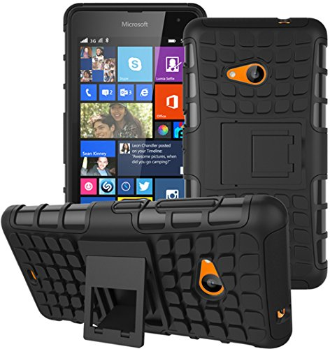 Microsoft Nokia Lumia 535 Hülle Nnopbeclik Hybrid 2in1 TPU+PC Schutzhülle Cover Case Silikon Rüstung Armor Dual Layer Muster Handytasche Backcover 360-Grad-Drehung ständer stoßfest Handy Hülle Tasche Schutz Etui Schale Bumper Pour Microsoft Nokia Lumia 535 5.0 Zoll [Schwarz+Grau]